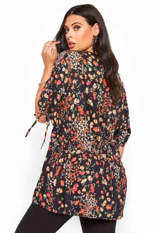 Black Floral Button Up Blouse