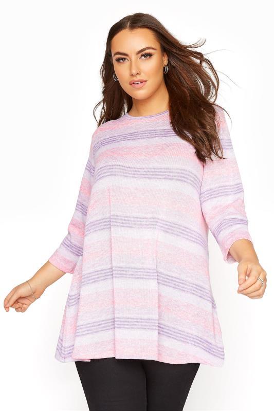 Plus Size  Multi Striped Half Sleeve Top