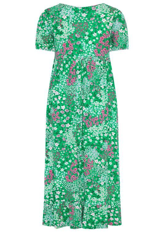 YOURS LONDON Green Floral Jersey Tea Dress_bk.jpg