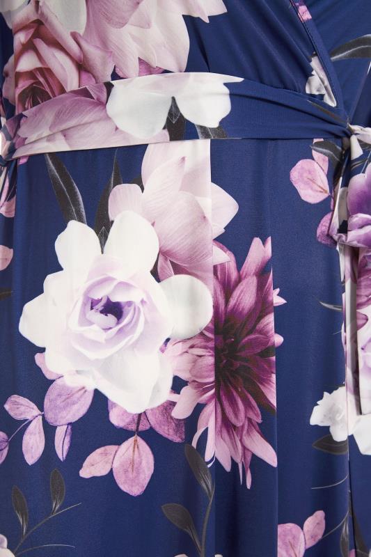 YOURS LONDON Navy Floral Wrap Hanky Hem Dress_S.jpg