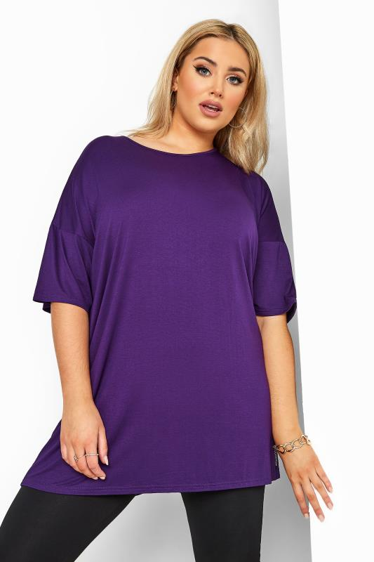 Purple Jersey Oversized T-Shirt