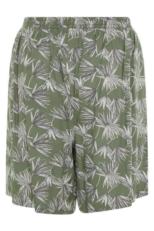 Khaki Palm Print Crinkle Shorts_BK.jpg