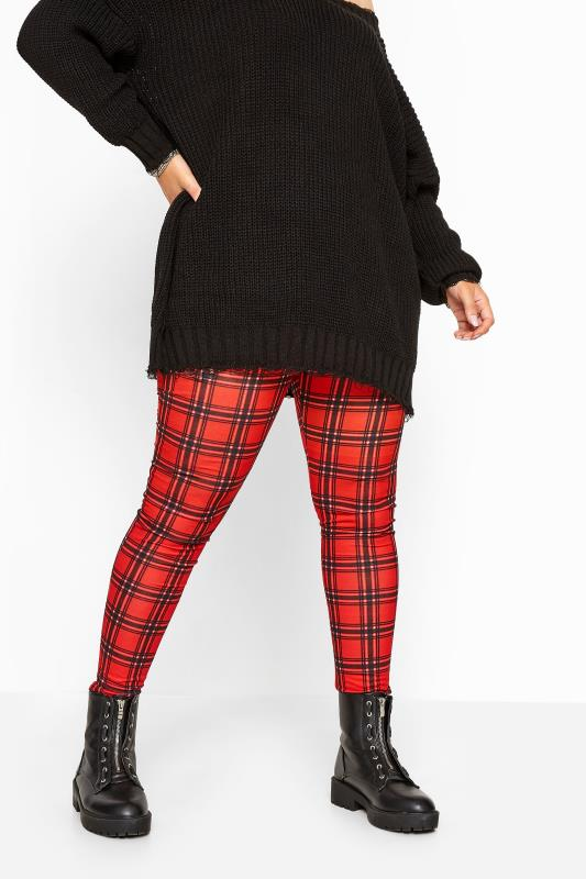 Red Check Jersey Leggings