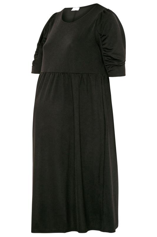 BUMP IT UP MATERNITY Black Jersey Smock Midi Dress_F.jpg