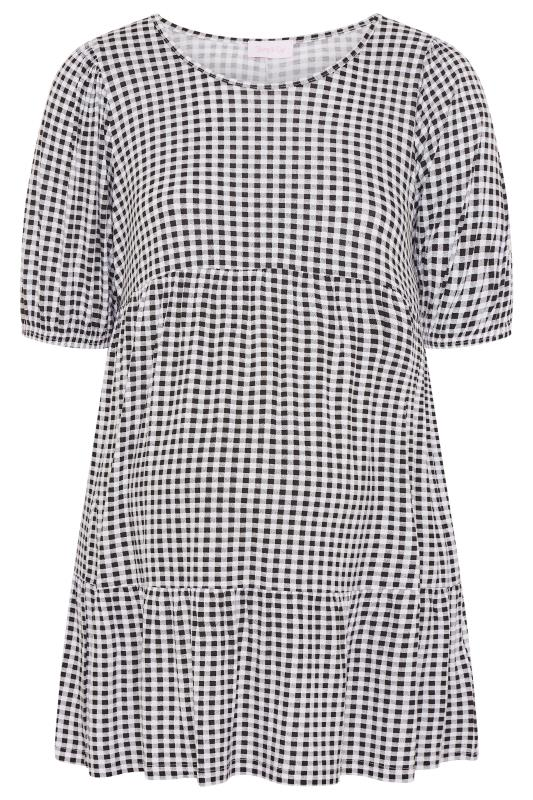 BUMP IT UP MATERNITY Black Gingham Tiered Smock Top_F.jpg