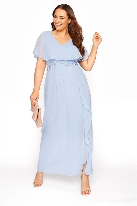 Light Blue Angel Sleeve Maxi Dress
