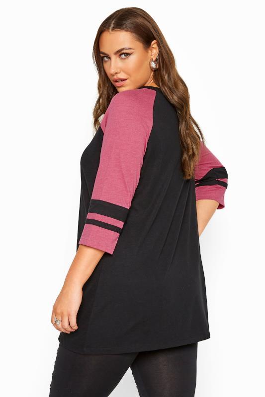 Black & Pink Lattice Front Varsity Top