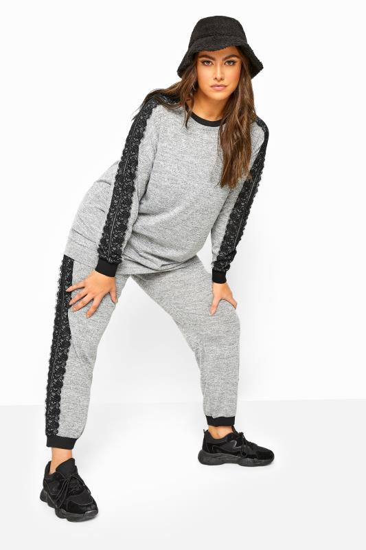 Plus Size Joggers LIMITED COLLECTION Grey Marl Lace Tape Knitted Joggers