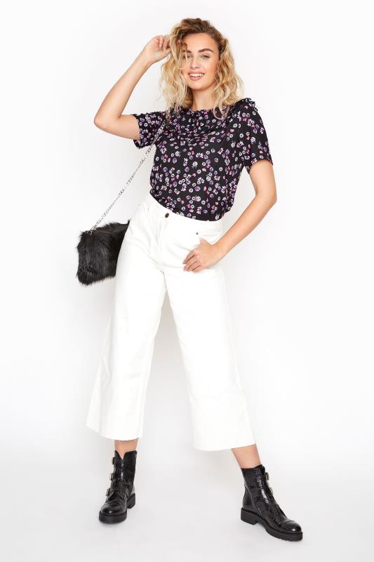 LTS Black Floral Peter Pan Collar Blouse