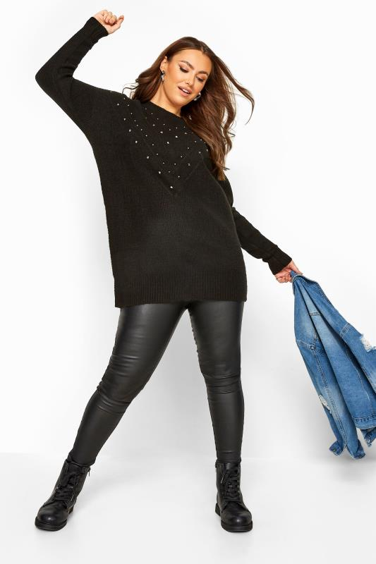 Black Studded Chevron Knitted Jumper