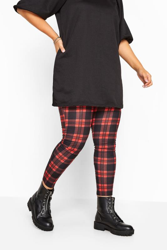 Red & Black Check Jersey Leggings