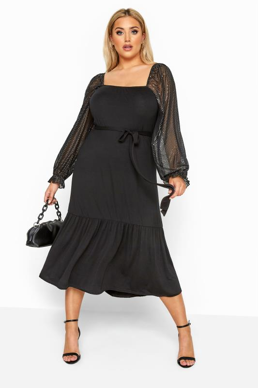 LIMITED COLLECTION Black Sequin Sleeve Smock Midi Dress