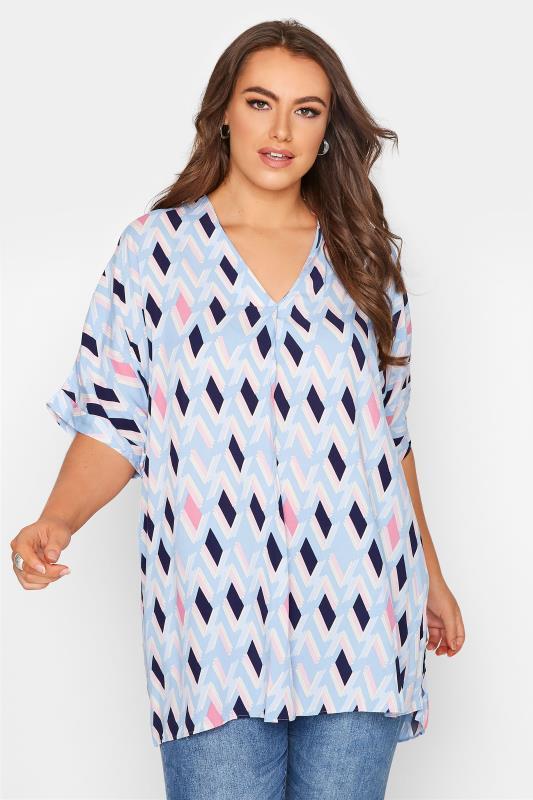 Plus Size  Blue Geometric V-Neck Pleated Front Shirt