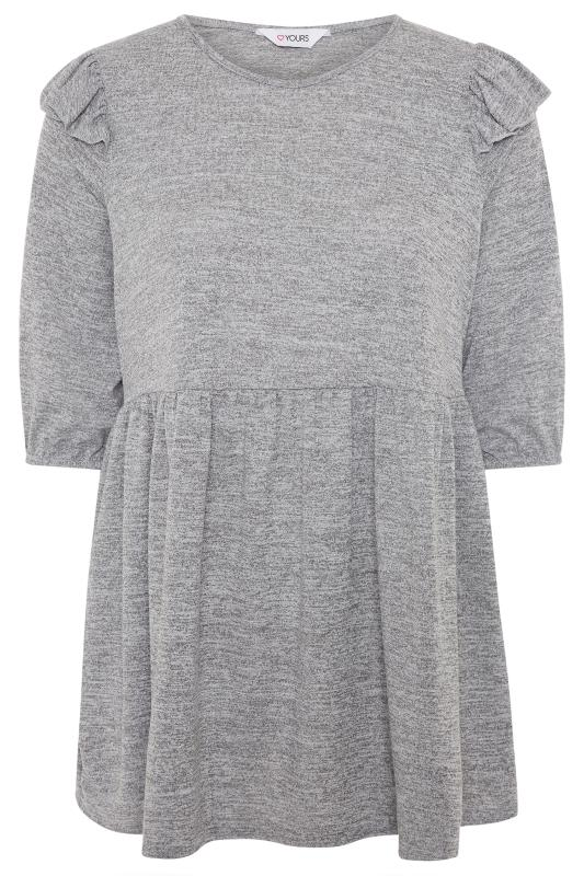 Day Tops Grande Taille Grey Marl Frill Knitted Peplum Top