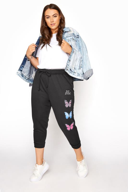 Black Butterfly 'Be Kind' Cropped Jogger
