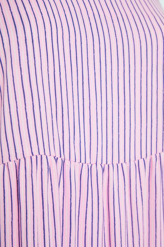 YOURS LONDON Pink Stripe Frill Tiered Midi Dress_S.jpg