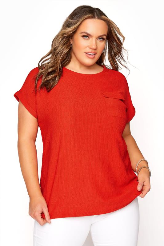 Plus Size  Red Textured Pocket Top