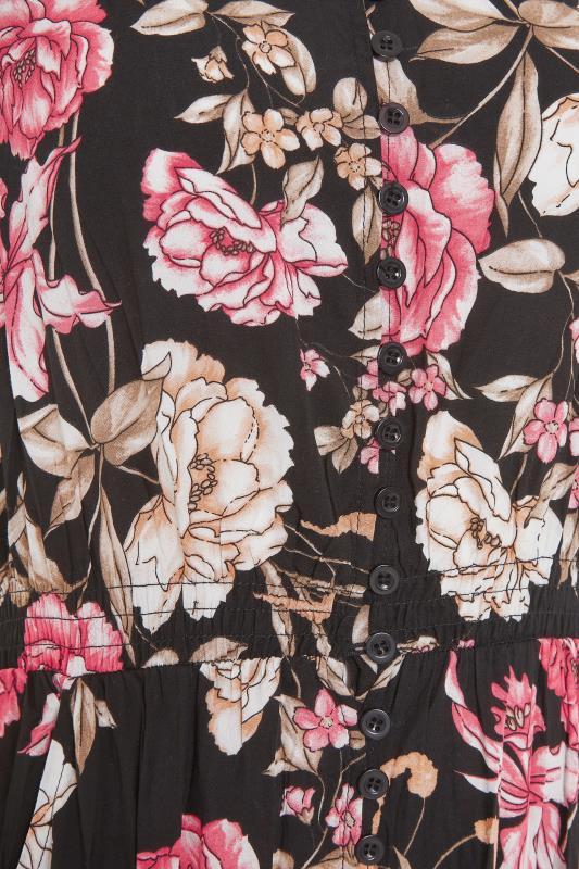 LTS Black Floral V-Neck Frill Hem Maxi Dress_s.jpg