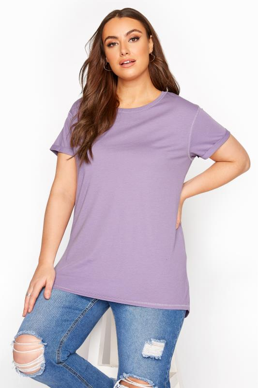 Plus Size  Lilac Topstitch Short Sleeve T-Shirt