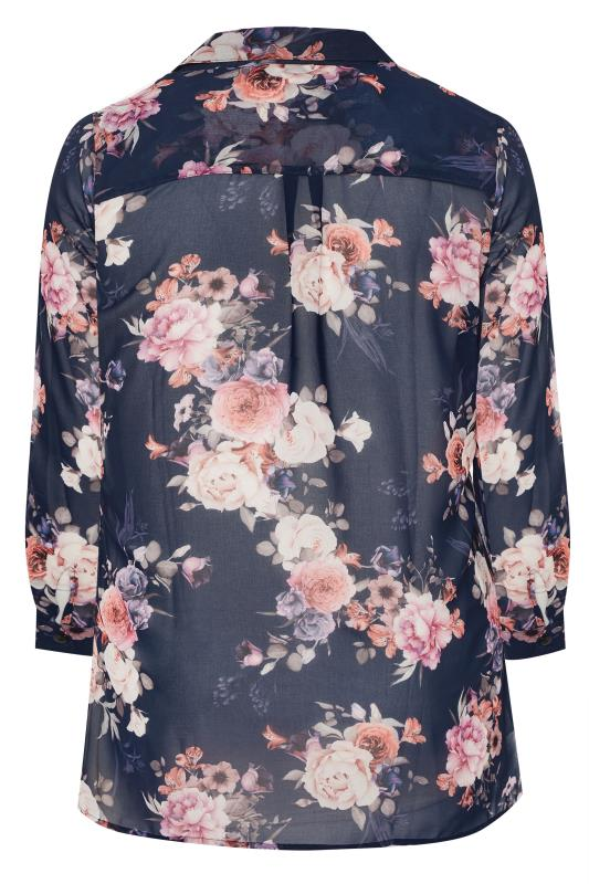 YOURS LONDON Navy Floral Print Chiffon Shirt