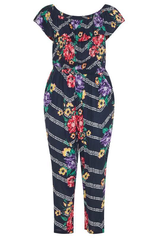 Navy Floral Chevron Print Bardot Crinkle Jumpsuit_F.jpg