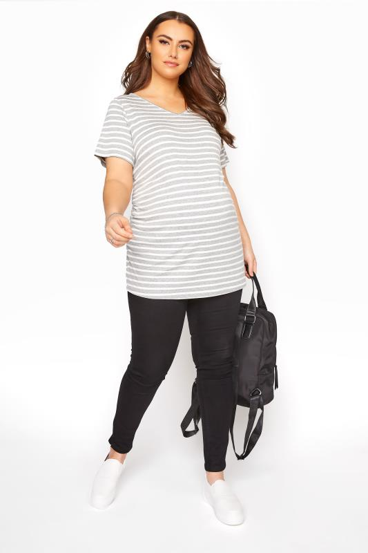 BUMP IT UP MATERNITY Grey Stripe Longline T-Shirt_B.jpg