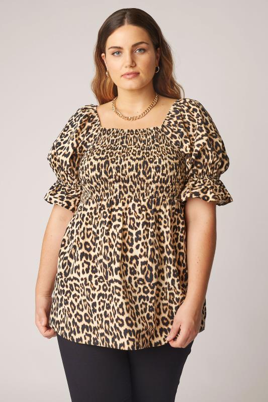 THE LIMITED EDIT Beige Leopard Print Shirred Peplum Top_A.jpg