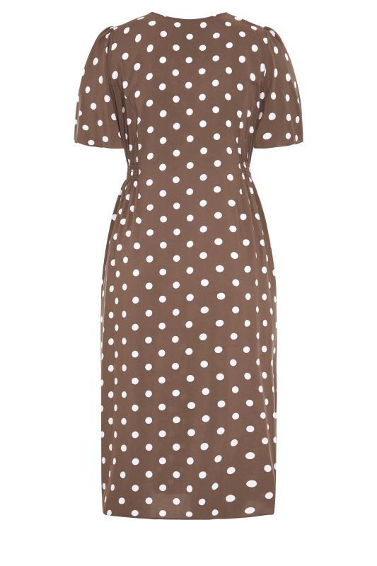 YOURS LONDON Brown Polka Dot Button Through Midi Dress_BK.jpg