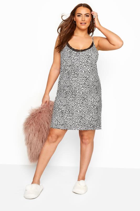 Plus Size Nightdresses & Chemises White Glitter Leopard Print Chemise
