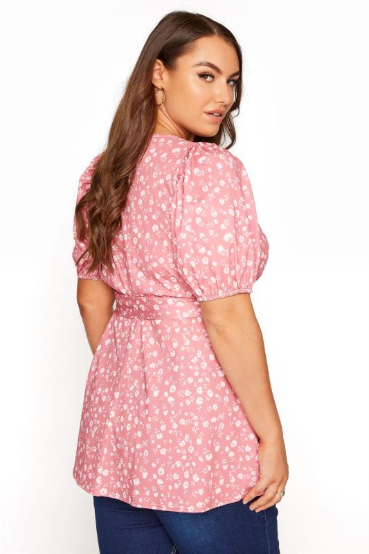 YOURS LONDON Pink Ditsy Puff Sleeve Wrap Top_C.jpg