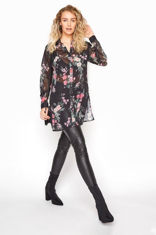 LTS Black Mixed Floral Longline Chiffon Shirt_B.jpg