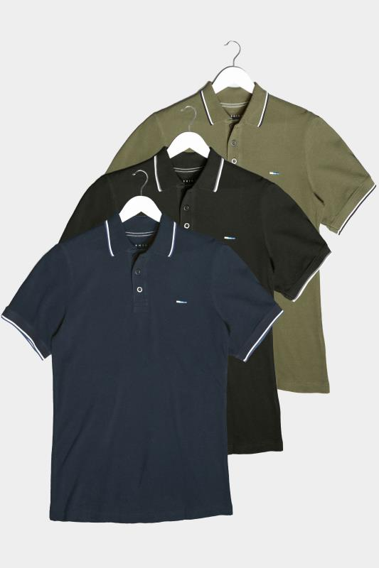 Men's  BadRhino Multi 3 Pack Essential Tipped Polo Shirts