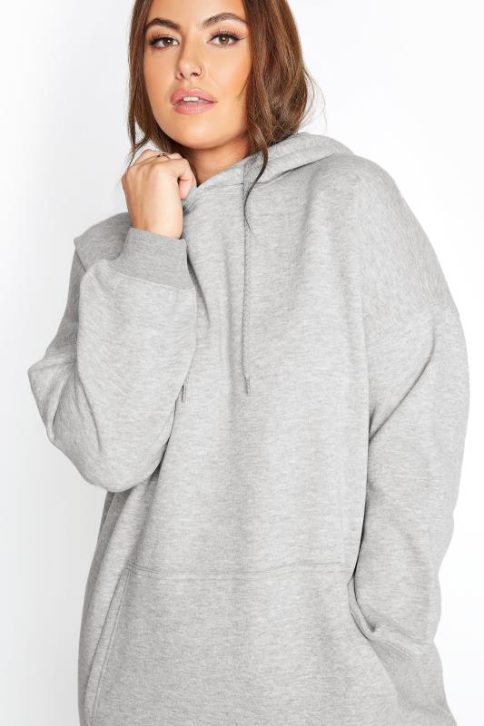 LIMITED COLLECTION Grey Cotton Jersey Longline Hoodie