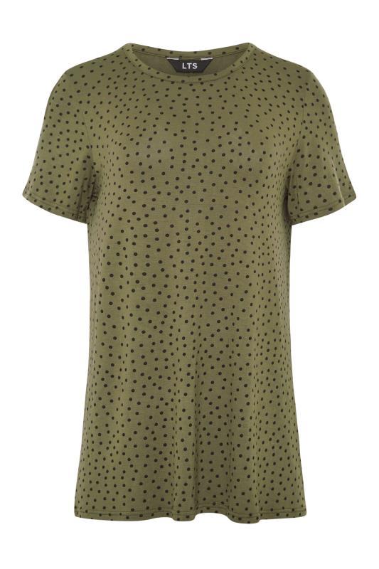 LTS Khaki Polka Dot Print T-Shirt_F.jpg