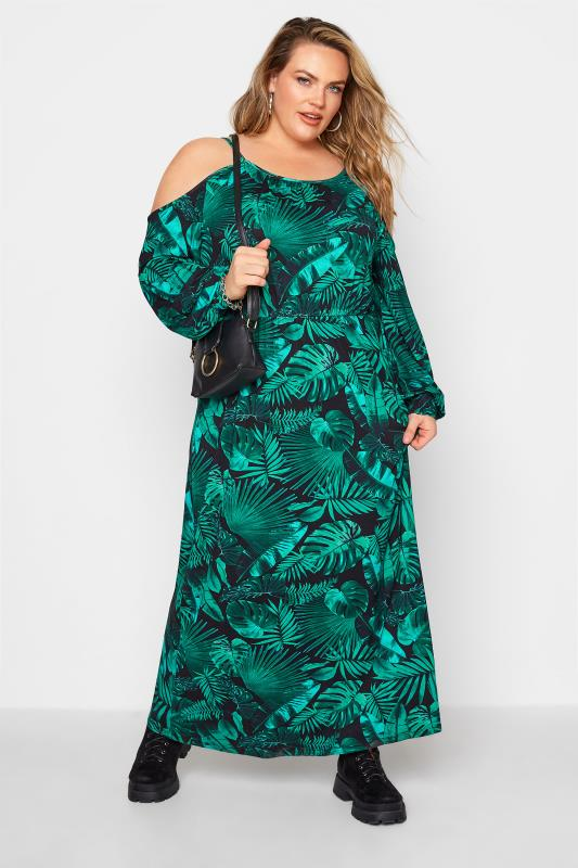 Green Tropical Print Cold Shoulder Midaxi Dress_B.jpg