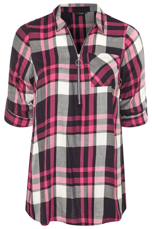 Pink Zip Neck Check Shirt