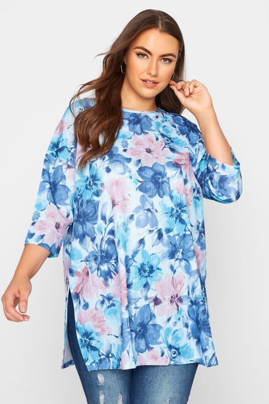 Plus Size  Blue Floral Print Side Split Tunic