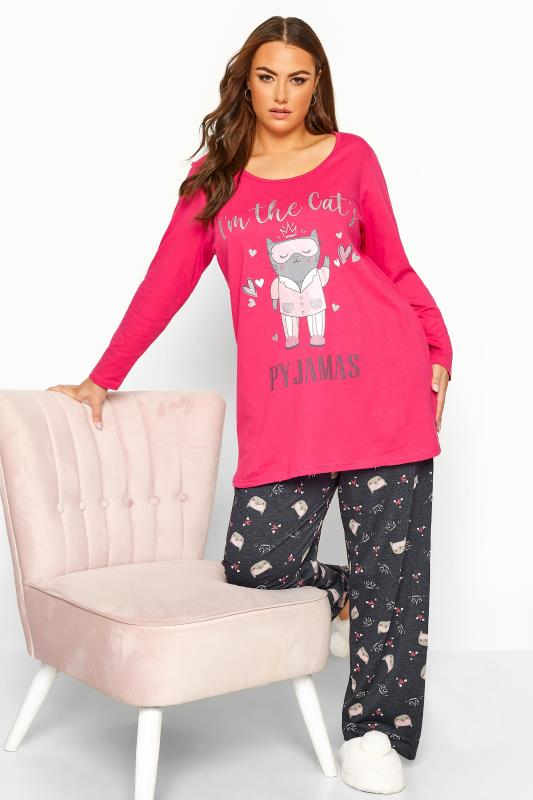 Plus Size  Pink Glitter Cat Pyjama Set