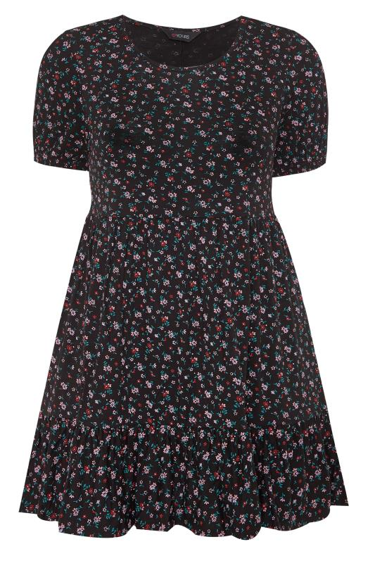 Black Ditsy Floral Tiered Smock Tunic