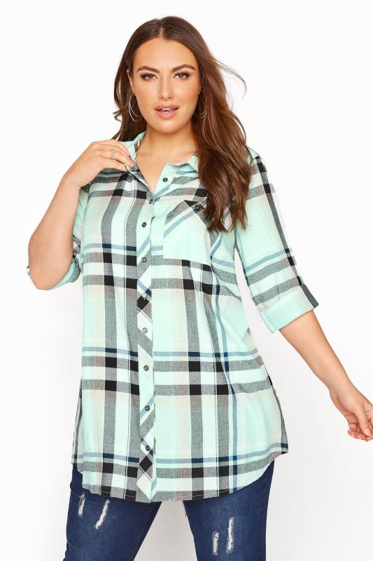 Mint Metallic Check Boyfriend Shirt