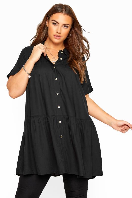Black Tiered Smock Longline Shirt