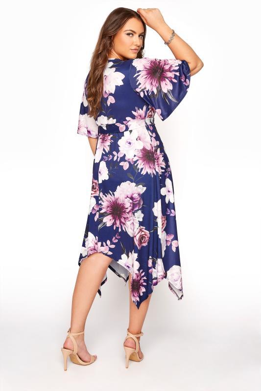YOURS LONDON Navy Floral Wrap Hanky Hem Dress_C.jpg