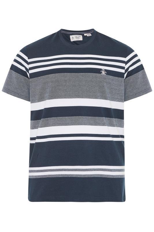 PENGUIN MUNSINGWEAR Marineblaues gestreiftes T-Shirt