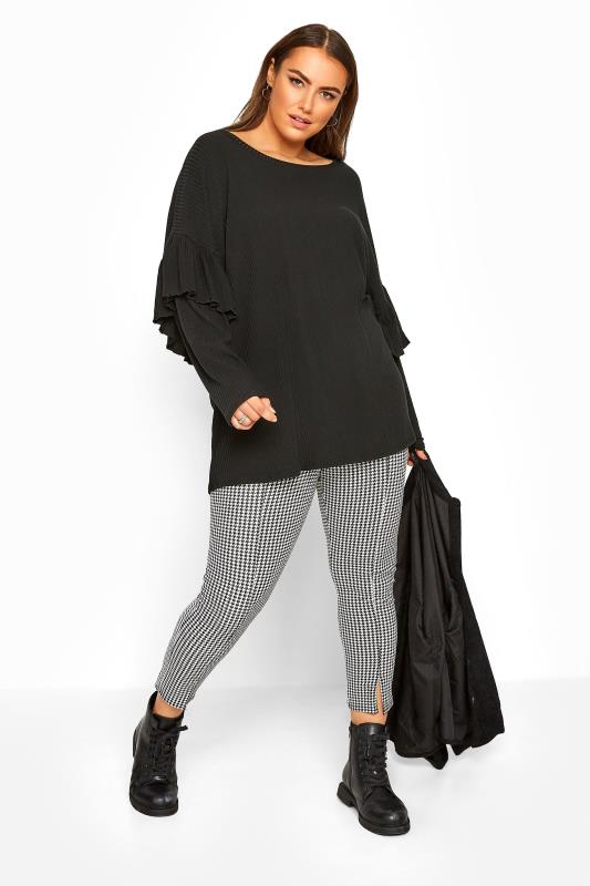 Black Oversized Frill Sleeve Jumper