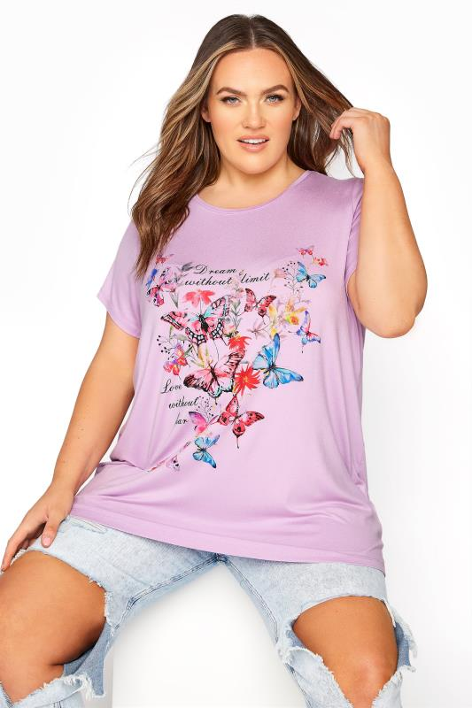 Plus Size  Lilac Butterfly Print T-Shirt