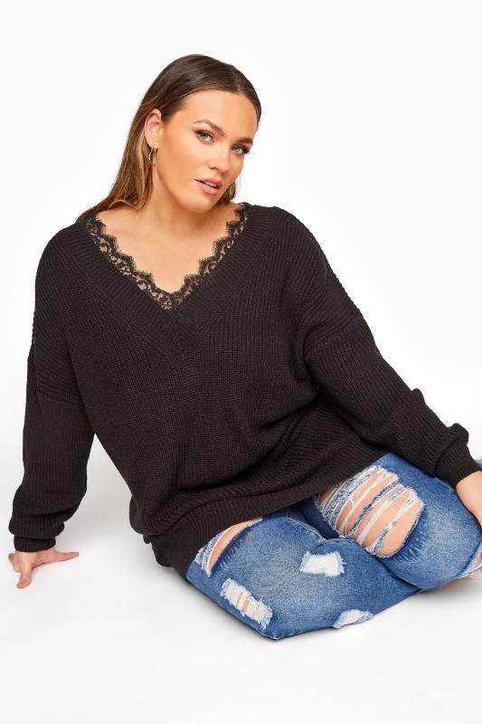 Plus Size  Black Lace Oversized Knitted Jumper