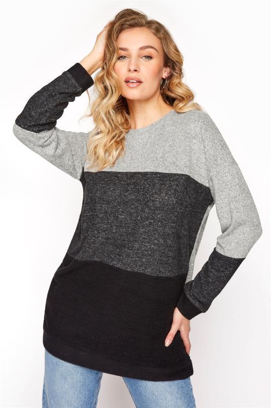 LTS Grey Oversized Colour Block Sweatshirt