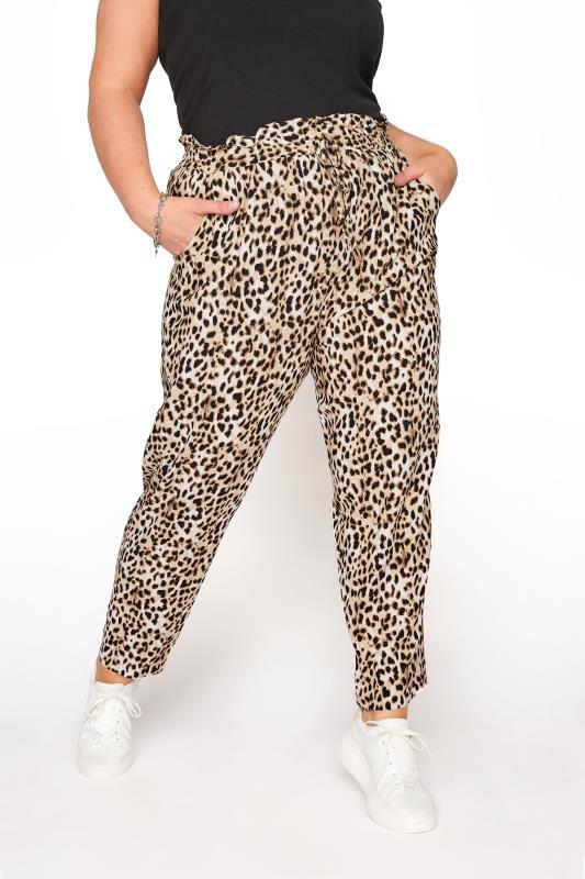 YOURS LONDON Black Leopard Print Tapered Harem Trousers_B.jpg
