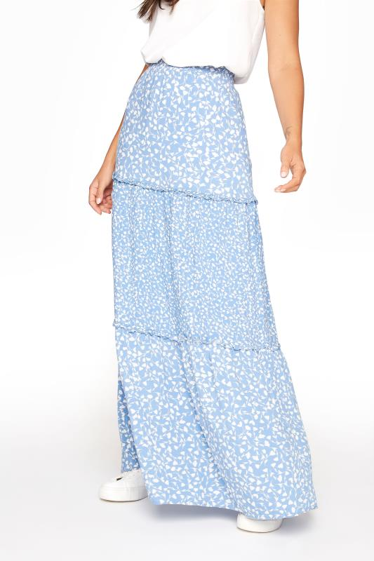 Light Blue Floral Print Tiered Woven Maxi Skirt