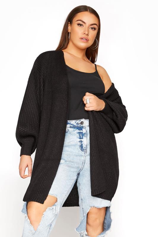 Großen Größen  Black Balloon Sleeve Knitted Cardigan